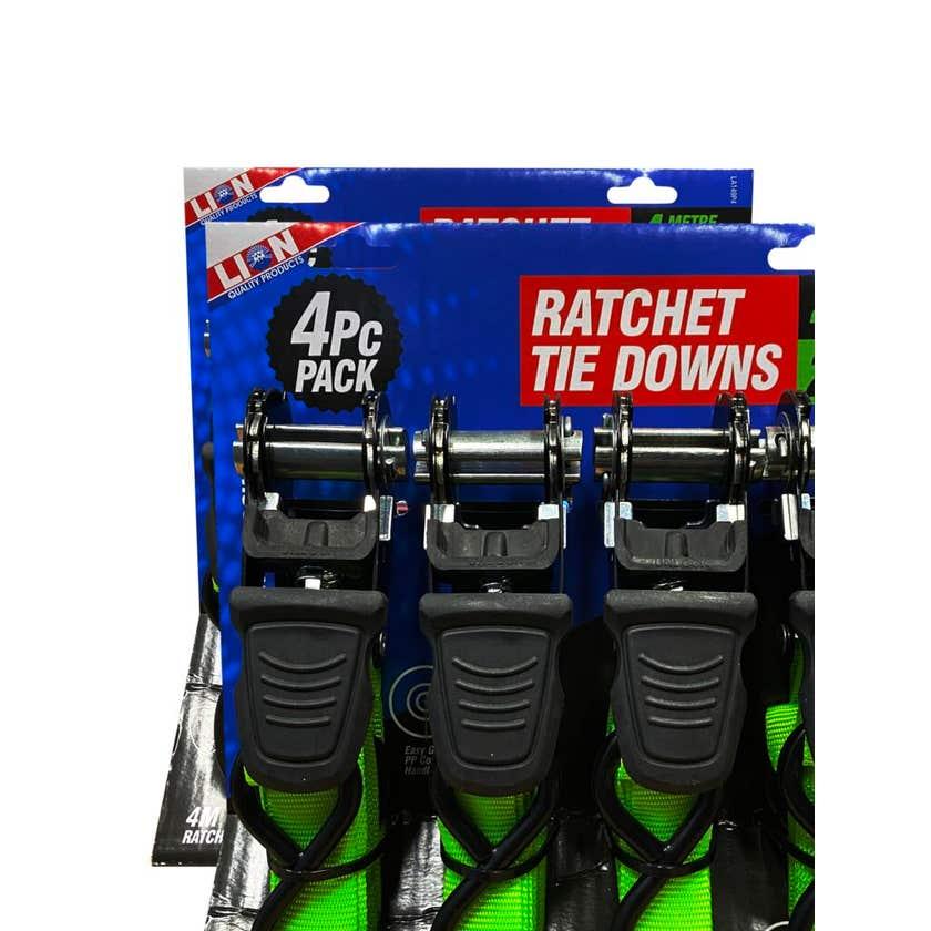 Lion Ratchet Tie Down 25mm x 4m - 4 Piece
