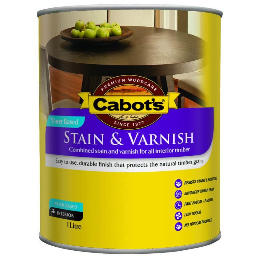 Cabot's Stain & Varnish Water Based Satin Walnut 1L