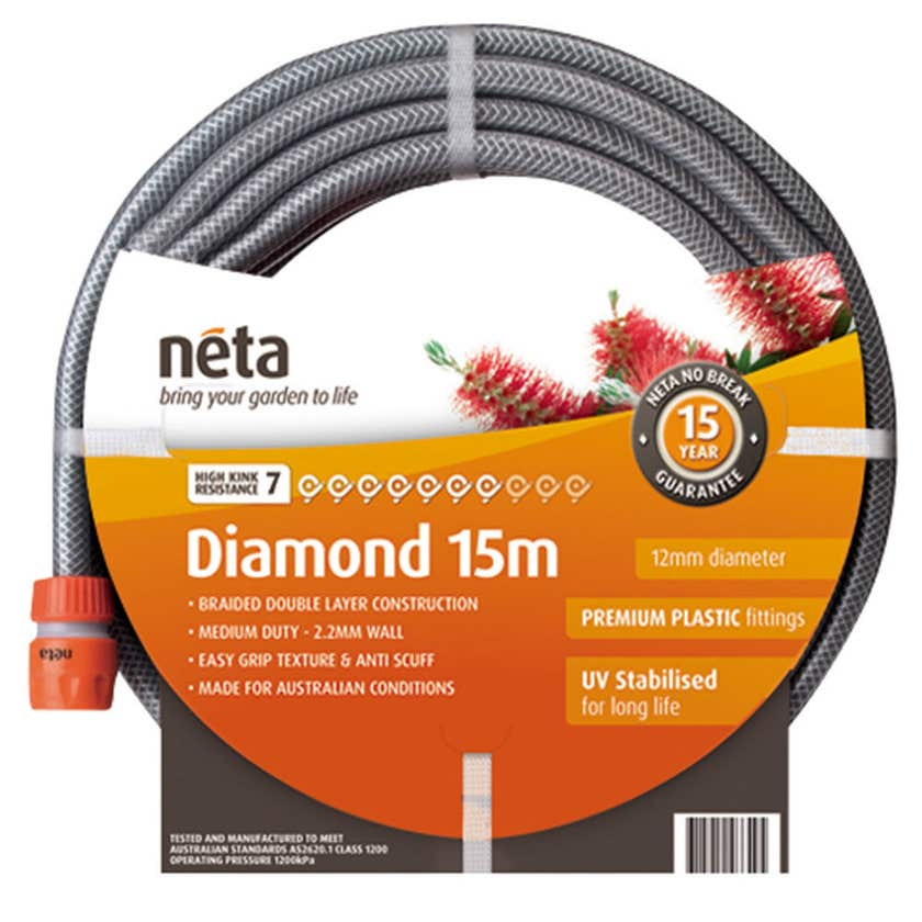 Neta Diamond Fitted Hose 15m x 12mm