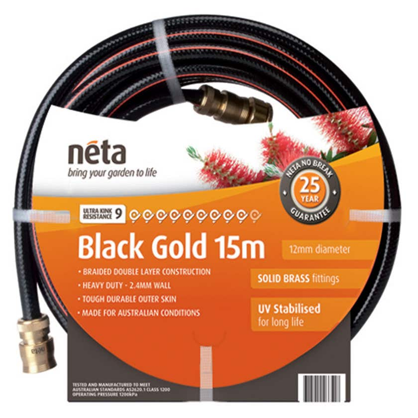 Neta Black Gold 15m Fitted Hose 12mm