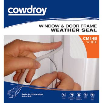 Cowdroy Window and Door Weather Seal White 12 x 12mm x 2.5m