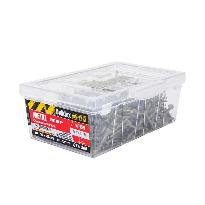 Buildex® Metal Wing Teks Countersunk 10-16 x 45mm - Box of 500