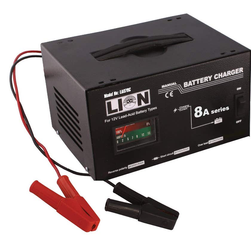 Lion Metal Skin Battery Charger 8 Amp
