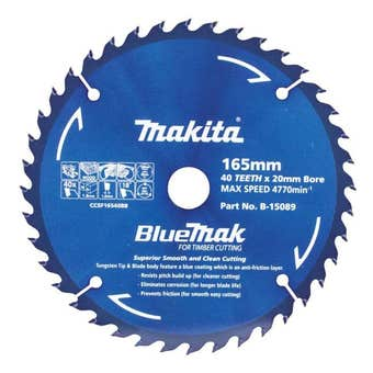 Makita Saw Blade BlueMak 165 x 20mm bore x 40T