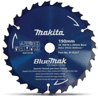 Makita Bluemak TCT Circular Saw Blade 24T 190mm