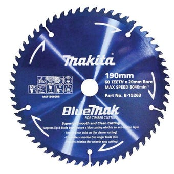 Makita Mitre Saw Blade BlueMak 190 x 20mm bore x 40T