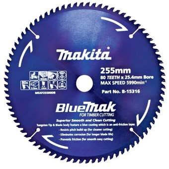 Makita Saw Blade BlueMak 255 x 25.4mm bore x 80T