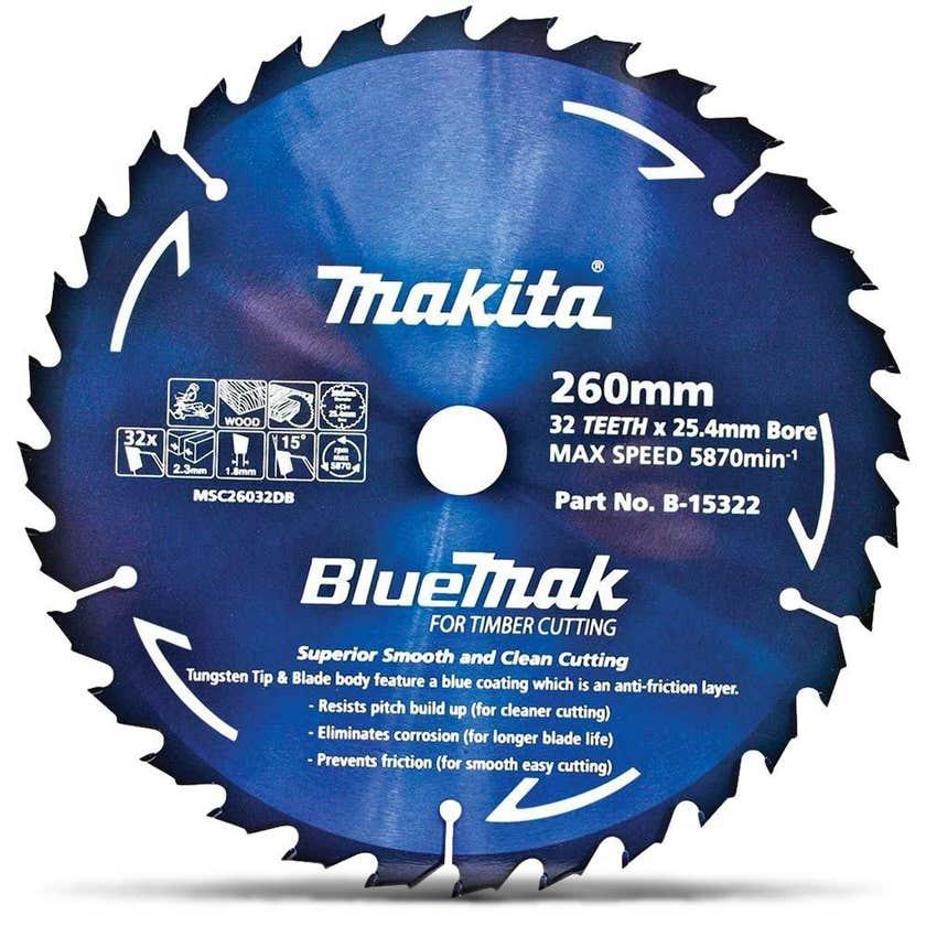 Makita Bluemak TCT Curcular Saw Blade for Timber 32T 260mm