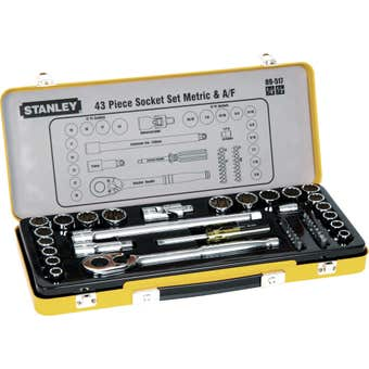 "Stanley 1/4"" & 1/2"" Drive Metric & A/F Socket Set - 43 Piece"