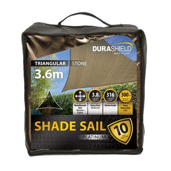 Durashield Triangle Shade Sail Platinum Stone 3.6m