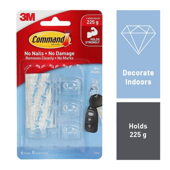 Command Mini Hook Clear - 6 Pack
