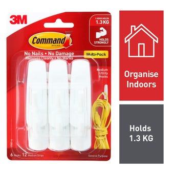 Command Hook Pack White Medium - 6 Pack