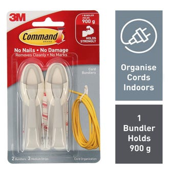 Command Cord Organiser Clips White - 2 Pack