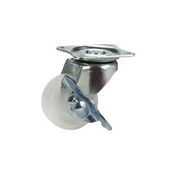 Cold Steel Nylon Swivel Castor with Brake White 40mm