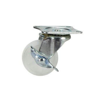 Cold Steel Nylon Swivel Castor with Brake White 50mm