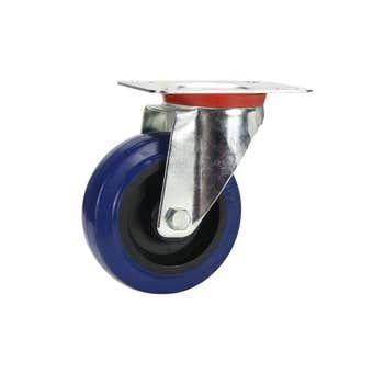 Cold Steel Rubber Swivel Castor Blue 100mm