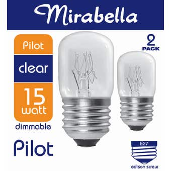 Mirabella Pilot Dimmable Globe 15W ES Clear - 2 Pack