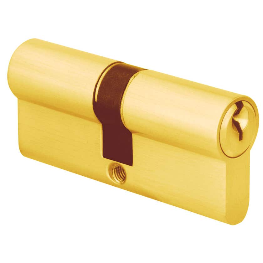 Delf Euro Double Cylinder Polished Brass 65mm