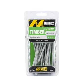 Buildex® Bugle Batten Screws Type 17 Zinc Alloy 3 14 - 10 x 150mm - 25 Pack