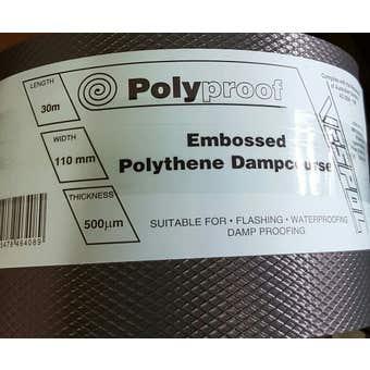Polyproof Dampcourse Polythene Black 350mmx30Mx500um