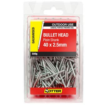 Otter Nails Bullet Head Galvanised 40 x 2.5mm 500g