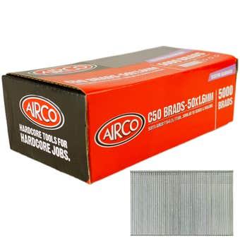 Airco C50 Brad Nails 1.6 x 50mm - Box of 5000
