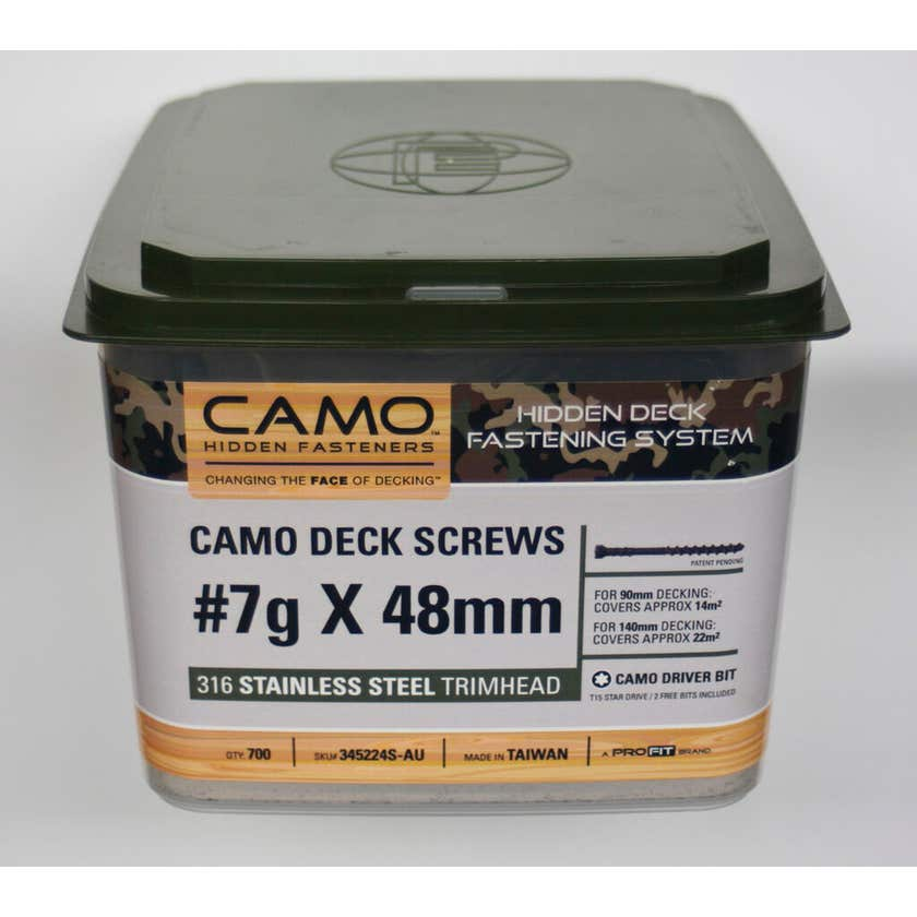 Camo Screw Trimhead Stainless Steel 48mm x 7G - Box of 700