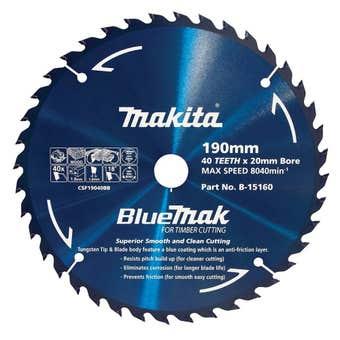 Makita Bluemak TCT Circular Saw Blade 40T 190mm