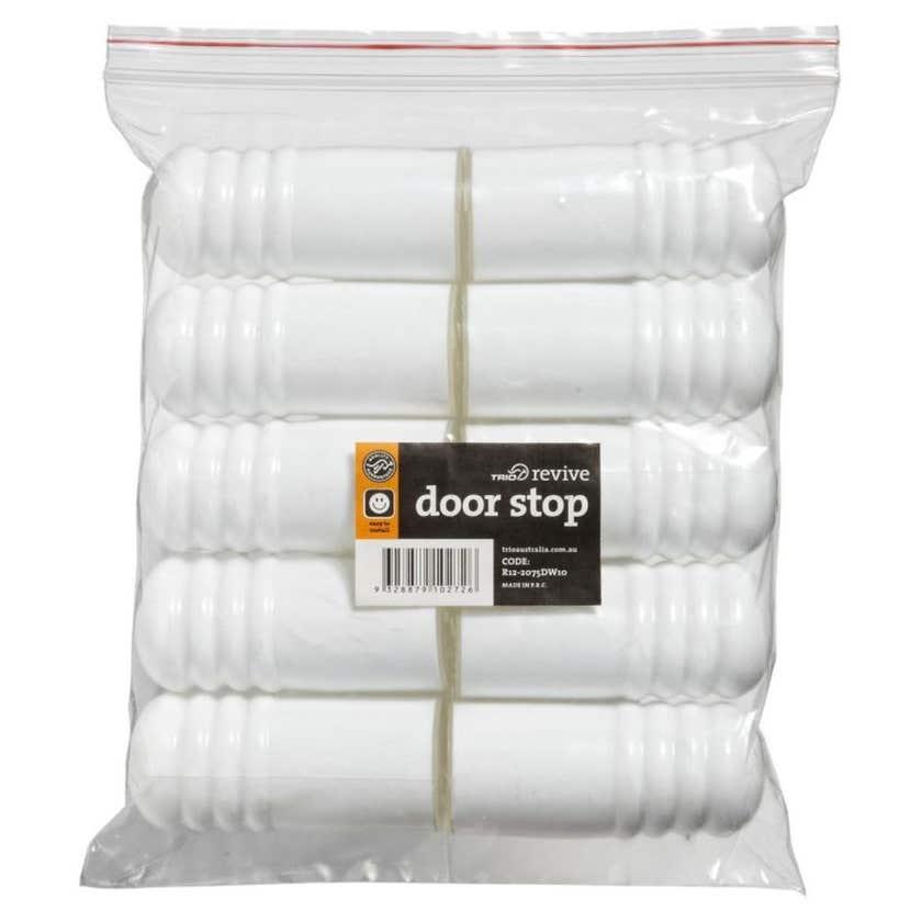 Trio Plastic Cushion Doorstop White 75mm - 10 Pack