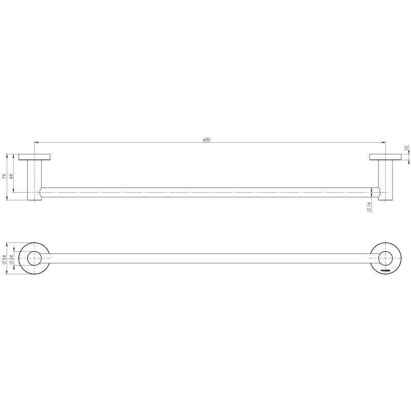 Phoenix Radii Round Single Towel Rail Chrome 600mm