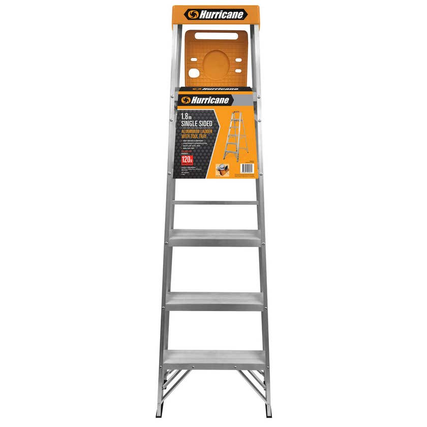 Hurricane 1.8m Single Sided Ladder with Tool Tray 120kg Domestic