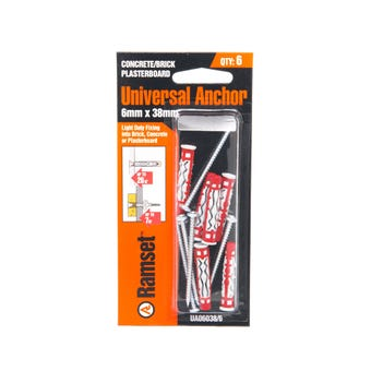 Ramset Universal Anchor Nylon 6 x 38mm - 6 Pack
