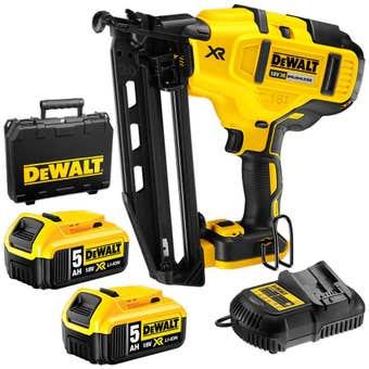 DeWALT 18V XR 5.0Ah Brushless Finishing Nailer Kit DCN660P2-XE