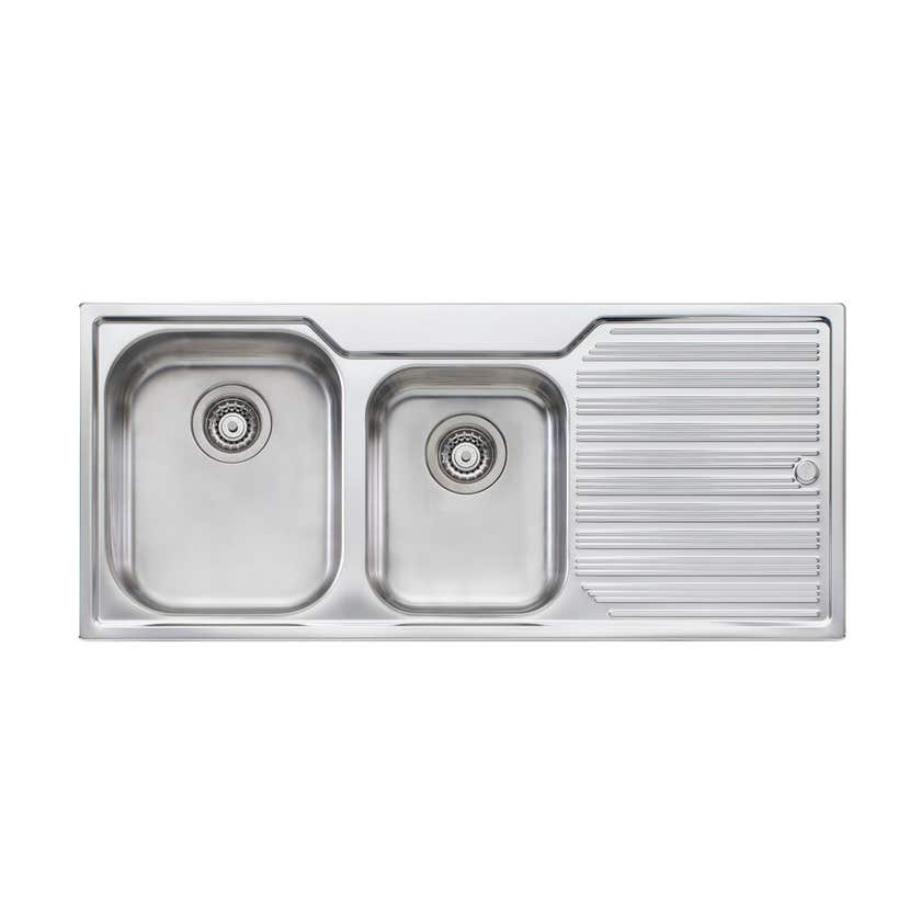 Oliveri Diaz No Tap Hole Left Hand 1 & 3/4 Bowl Sink with Drainer