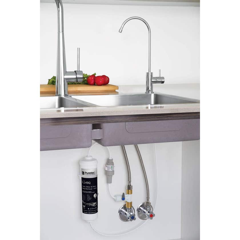 Puretec Inline Undersink Water Filter System with High Loop LED Faucet