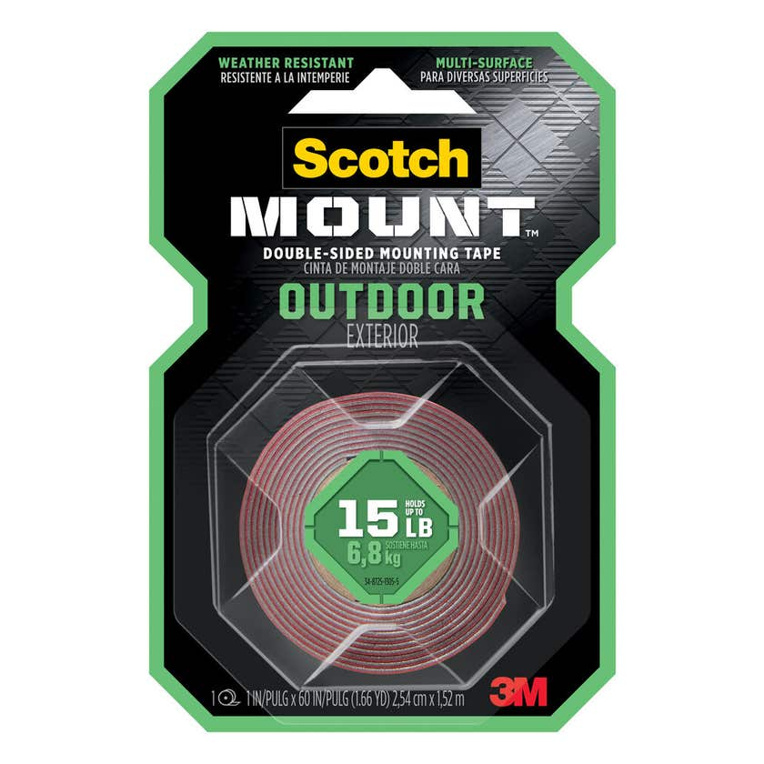 Scotch-Mount Outdoor Double-Sided Mounting Tape 254mm x 1.52m