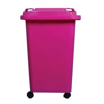 Queen Wheelie Bin Plastic Pink 60L