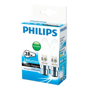Philips Halogen Globe Candle 28W BC Clear - 2 Pack
