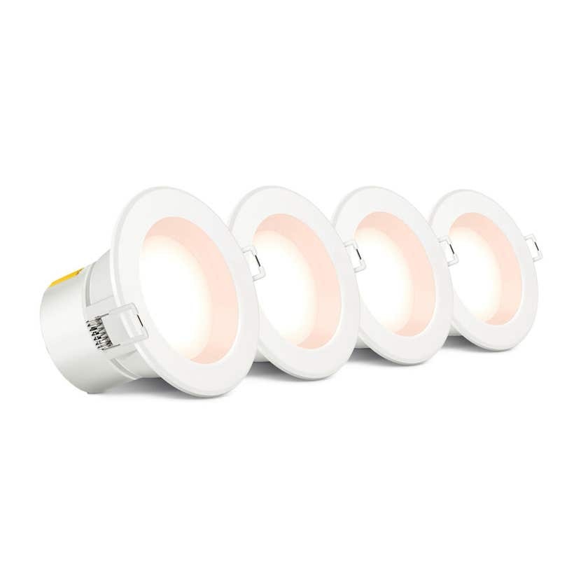 HPM Non Dimmable LED Downlight 240V 5W 70mm Warm White Plug Pk4