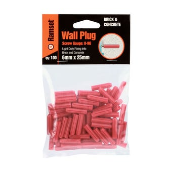 Ramset Wall Plug Red 6 x 25mm - 100 Pack