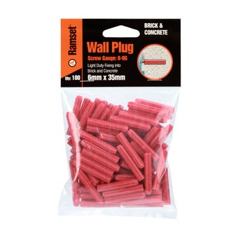 Ramset Wall Plug Red 6 x 35mm - 100 Pack