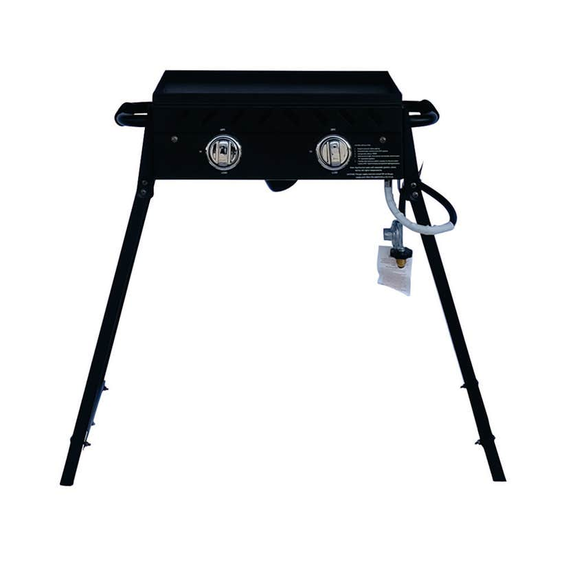 Grilled 2 Burner Solid Plate BBQ with Folding Legs