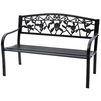 Cornwell 2 Seater Steel Bench Black