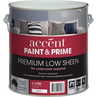 Accent Prime And Paint Interior Low Sheen White 4L