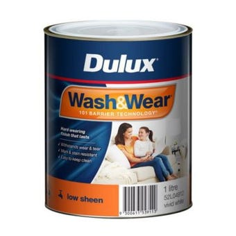 Dulux Wash & Wear Interior Low Sheen Vivid White 1L