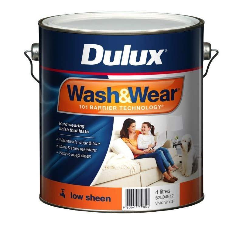 Dulux Wash & Wear Interior Low Sheen Vivid White 4L
