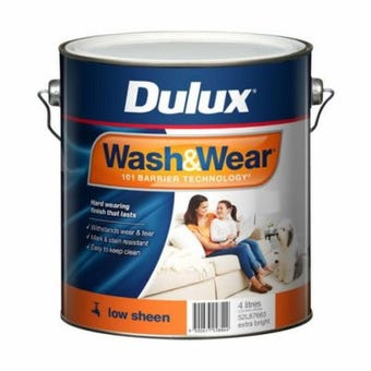 Dulux Wash & Wear Interior Low Sheen Extra Bright Base 4L