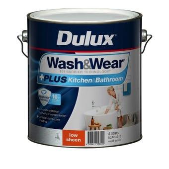Dulux Wash & Wear +Plus Kitchen & Bathroom Low Sheen Vivid White 4L