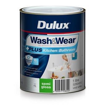 Dulux Wash & Wear +Plus Kitchen & Bathroom Semi Gloss Vivid White 1L
