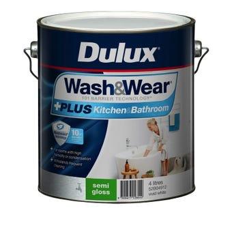 Dulux Wash & Wear +Plus Kitchen & Bathroom Semi Gloss Vivid White 4L